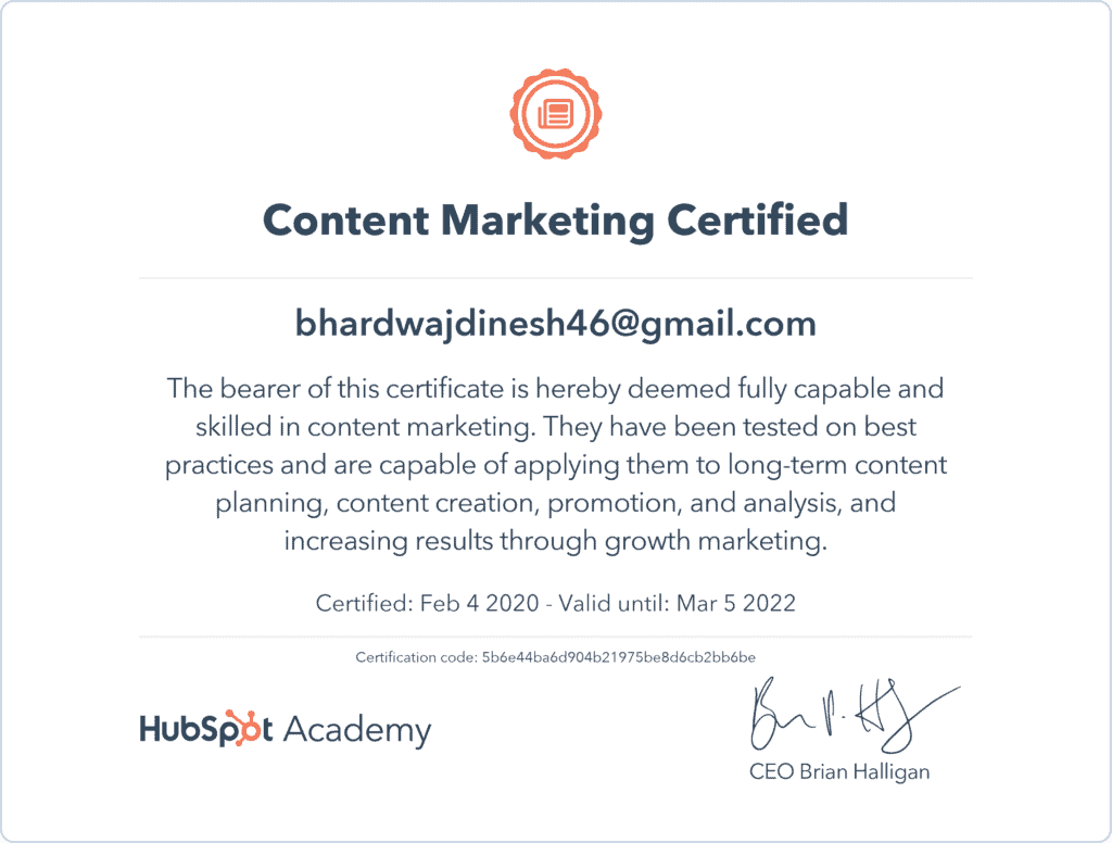 Content writing certified