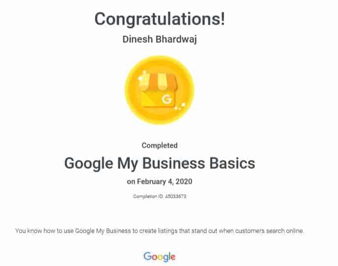 Google my business basic certi